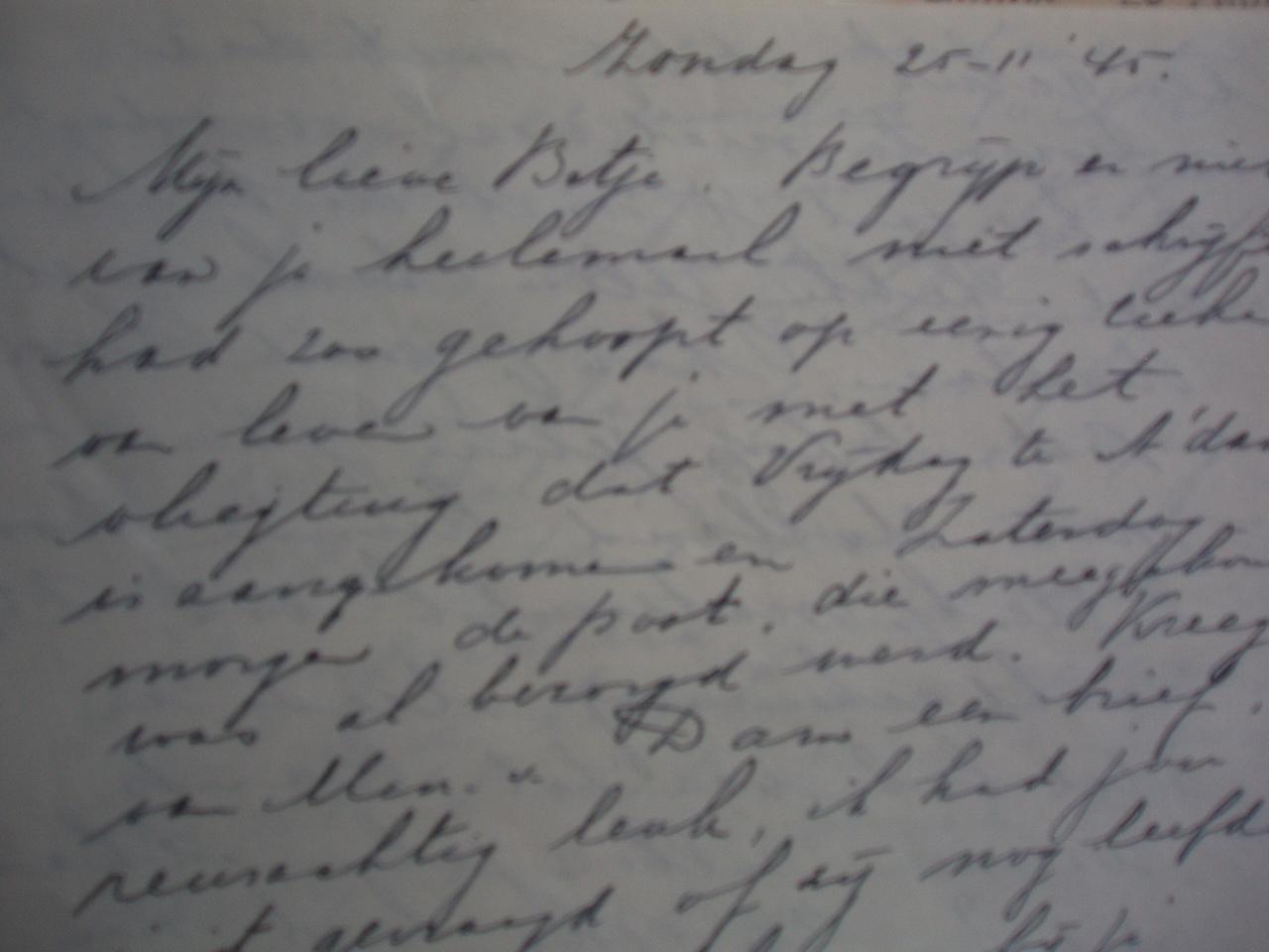 een brief van ma Jonker die Bep nooit zal lezen