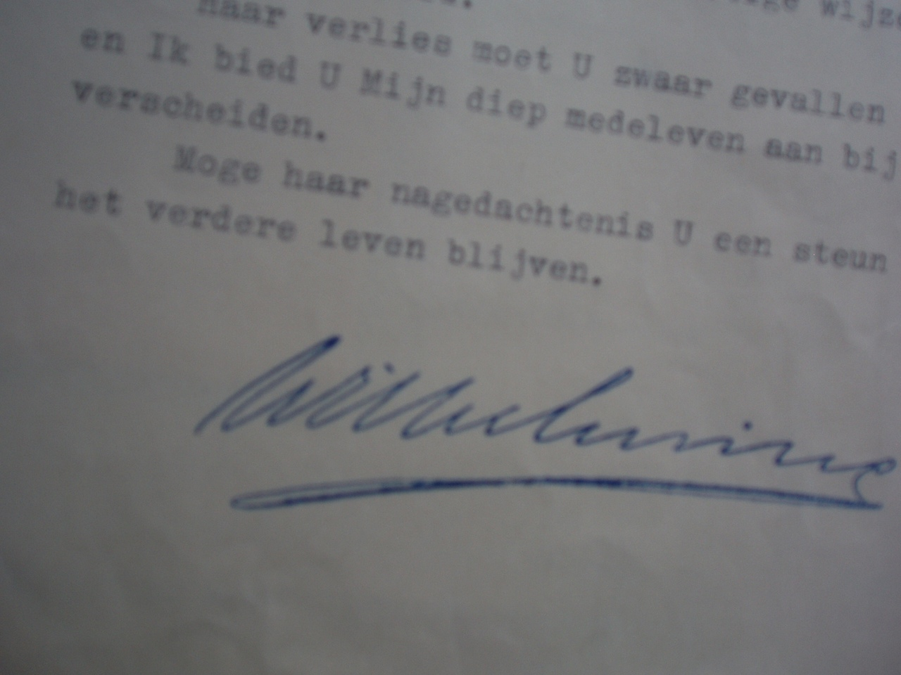 brief van koningin Wilhelmina