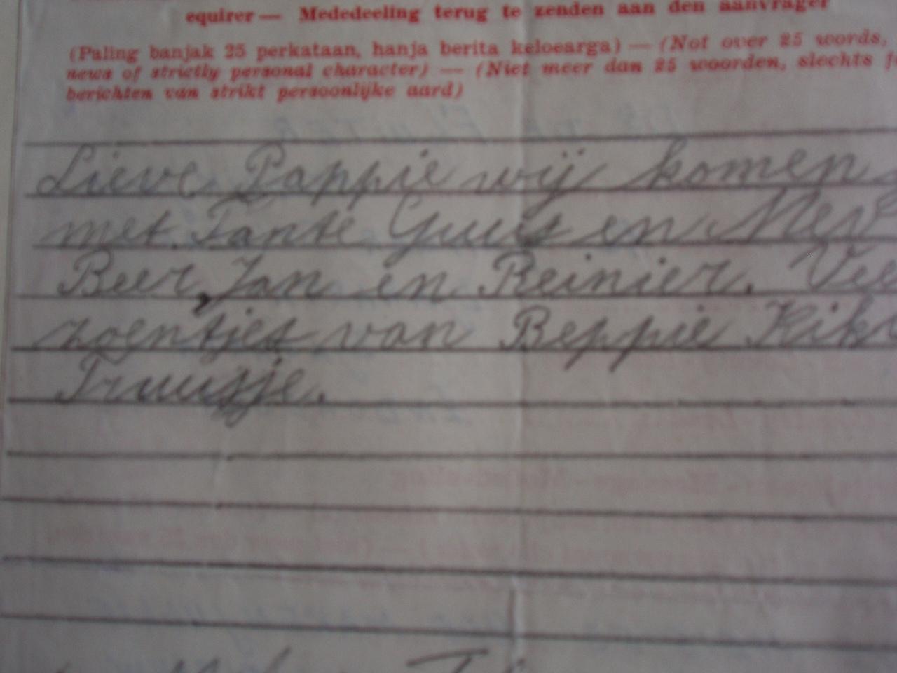 Beppie schrijft aan Henk vanuit kamp Malang