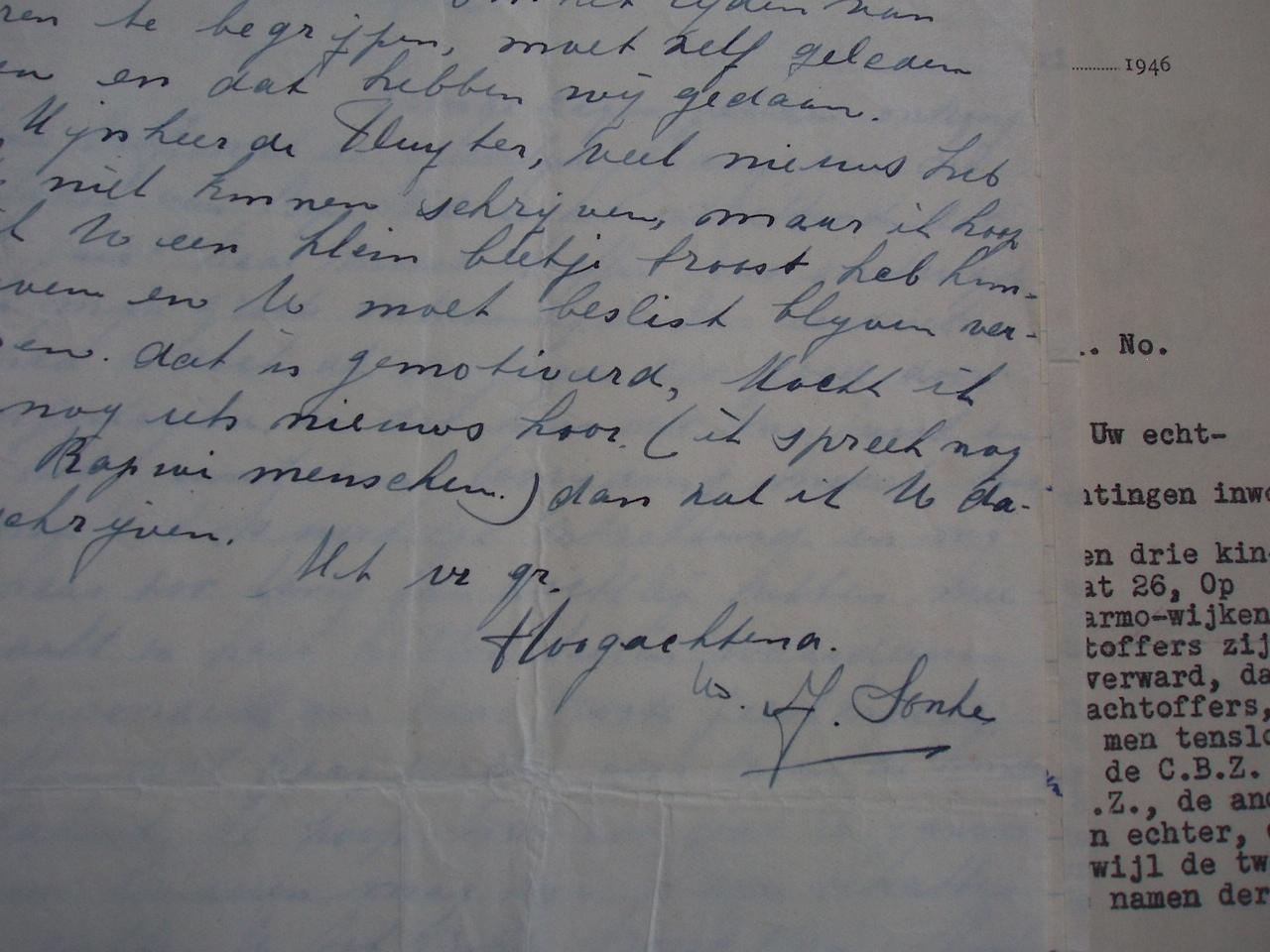 brief van mevrouw Sonke aan Henk